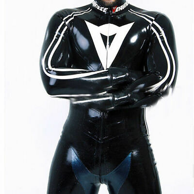 Cool Latex Rubber Racing Suits 100% Gummi Bodysuit Schwarz Catsuit Ganzanzug