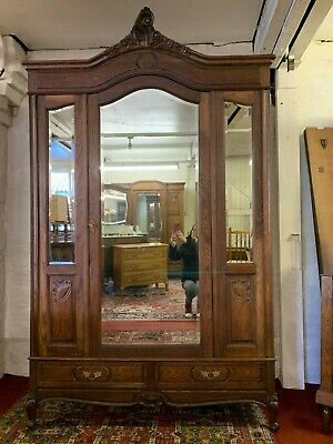 Fantastic French Antique Carved Oak Triple Mirrored Oak Armoire Circa 1890
