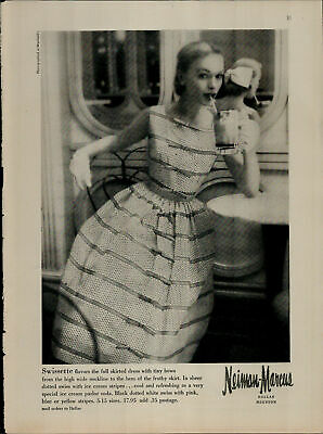 1956 Neiman Marcus Womens Skirted Dress Women At Diner Vintage Print Ad 2700