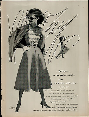 1956 Lord and Taylor Cashmeres Vintage Print Ad 2705