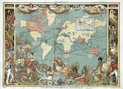 83814 Vintage Old 1886 British Empire Map Of The World LAMINATED POSTER AU