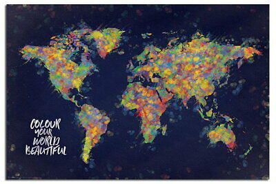88526 Colour Your World Beautiful Map Decor LAMINATED POSTER AU