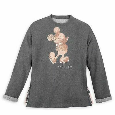 Disney Parks Mickey Mouse Reversible Sequin Briar Rose Gold Adult Sweater 1X NWT