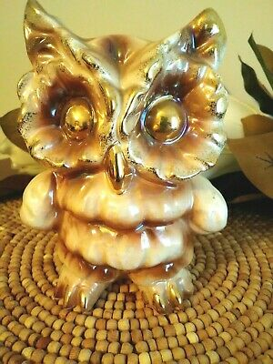 "RARE Vintage Japanese 6"" COLLECTIBLE OWL CERAMIC PIGGY BANK Gold Finish Accents"