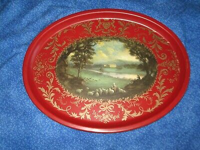 Vintage English Tin Toleware Painted Oval Serving Tray Chatsworth 12 1/2 x 16""