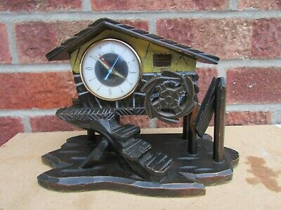 1970s Wood Musical Alarm Clock in Shape of Water Mill Needs a little restore