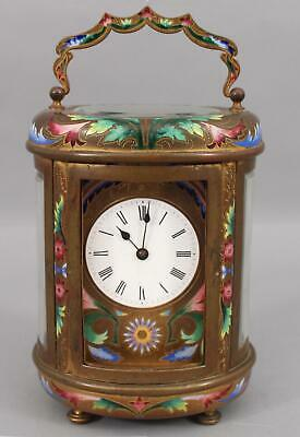 Antique 19thC French Bronze Floral Shaded Enamel Oval Carriage Clock, NR