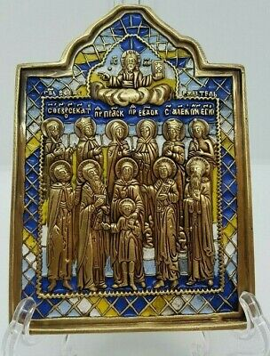 Russian orthodox bronze icon. Selected Saints. Enameled.