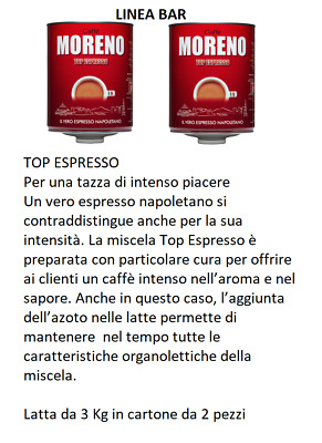 """6 kg Roasted Coffee Blend """"Moreno TOP EXPRESSO"""" carton of 2 Pieces x 3 KG Italy"""