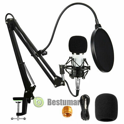 Professional Podcast Studio Condenser Microphone Recording Kit +Mount +Arm Stand