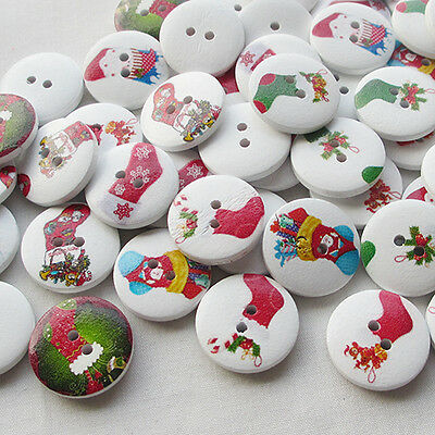 E621 Santa Christmas Decoration Wood Buttons 20mm Sewing Mix Lots 10//50//100PCS