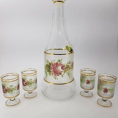 Cristallerie Italian Glass Decanter with matching glasses