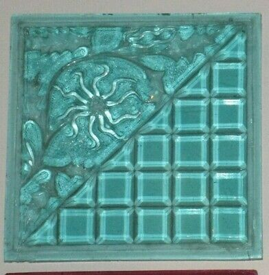 1894 Mosaic Glass Lt Teal Pressed Glass EAPG Addison Floral Geo Window Pane Tile