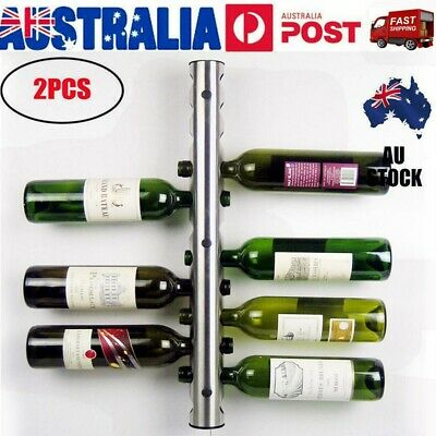 2PCSX Stainless Steel Wine Rack Bar Kitchen Wall Mounted Holder with 12 Holes