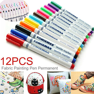 12Pcs Fabric Markers Permanent Painting Pens Kit Clothing Textile T-Shirt Shoes