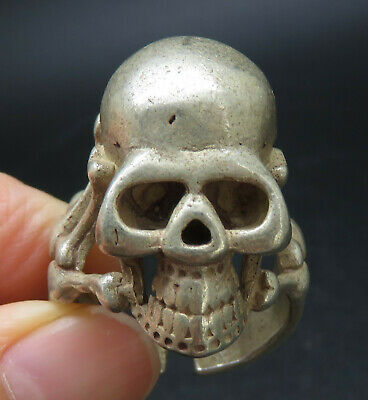 Ancient Solid Silver Skull Rings With Mark