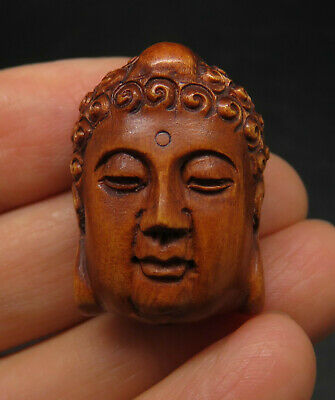 Exquisite Handmade Wood Gandhara Buddha Head Amulet