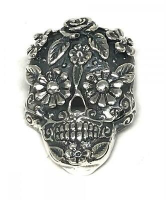 Taxco Mexican 925 Sterling Silver Catrina Day Of Dead Skull Pendant Mexico