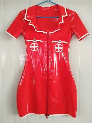 Rock Neu Latex Rubber Dress Rot Gummi Nurse Uniform Zipper Kleid Fixed Size L
