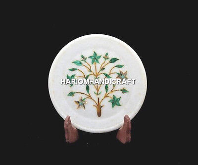 "6"" Round Marble Malachite Stone Plate Marquetry Inlay Art White Decoration H5457"