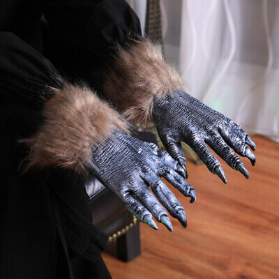 Adults Werewolf Claws Gloves Wolf Hands Claws Paws Halloween Fancy Dress Gloves