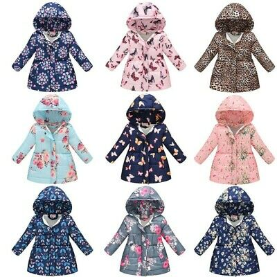 Toddler Kids Baby Girl Floral Coat Winter Thick Warm Hooded Windproof Coat UK