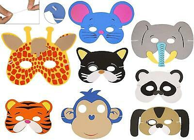12 Kids Foam Animal Masks Dressing Up Party Loot bag fillers Jungle Party Toys