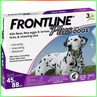 Frontline Plus 3 Pack / 3 Months Supply For Dogs Large Dog (45 to 88 pounds) New