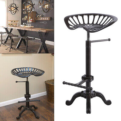 Adjustable Vintage Tractor Seat Bar Stool Rustic Cast Iron Industrial Chair Zx