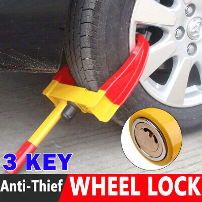 Heavy Duty Wheel Clamp Anti Theft Lock Caravan Trailer Security With 3 Keys RB