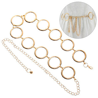 Up Circle Alloy Buckle Belt Metal Belt Women's Metal Waistband Lady Waist Chain