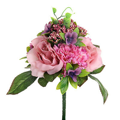 Posy of Pink Roses and Carnations - 25 cm Artificial Flowers Realistic Looking