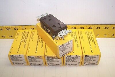 6) New Hubbell 20 Amp Duplex Receptacle 125V 2 Pole 3 Wire  Hbl2162