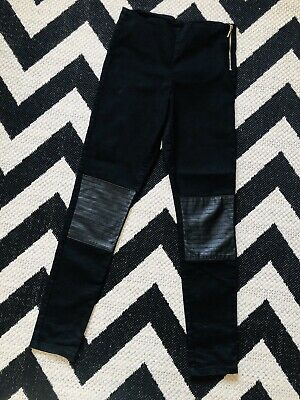 ☀H&M GIRLS BLACK TROUSERS☀FAUX LEATHER KNEES☀Age 13-14☀SKINNY JEGGINGS