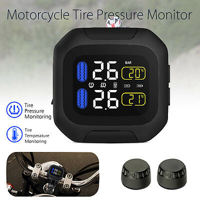 Motorcycle TPMS Tire Pressure Monitor System Sensors Alarm Wireless PSI BAR New