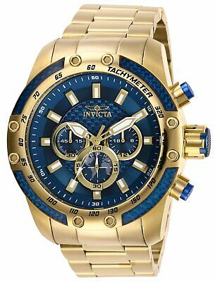 Invicta Men's Watch Speedway Chronograph Blue Dial Yellow Gold Bracelet 28659