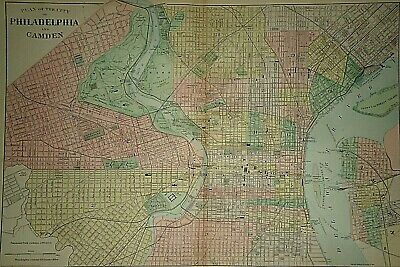 Vintage 1889 PHILADELPHIA MAP Old Antique Original & Authentic ~ Quick N Free