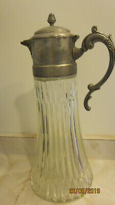 Vintage Georgian Style Crystal glass & Silver Plate Claret Jug Decanter