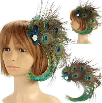 1920s Peacock Wedding Feather Headpieces Fascinator Hair Clip Bridal Festival US