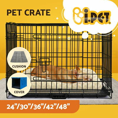 "i.Pet Pet Dog Cage Crate Kennel Cat Collapsible Metal Cages 24""~ 48"" Playpen XXL"