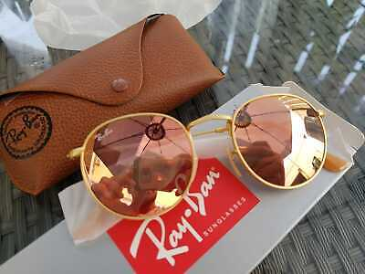Ray-Ban RB3447 Unisex Round Sunglasses with Gold Frame and Pink Lens - Pre-owned