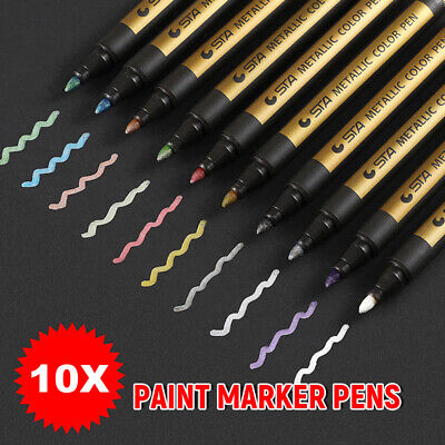 10X Metallic Paint Pens Sets Art Marker Fine Metal Glass Waterproof Calligraphy