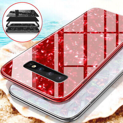 Luxury Case For Samsung S10 S9 S8 Plus Marble Tempered Glass Hard Phone Cover
