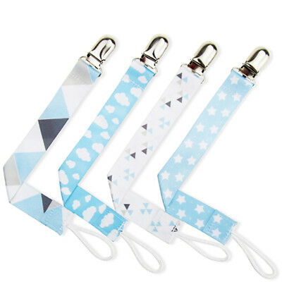 Baby Boy Girl Ribbon Dummy Clips Soother Pacifier Chain Nipple Holder Feeding LS