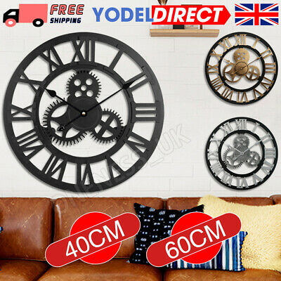 Large Outdoor Garden Wall Clock Metal Roman Numeral 40/60CM Round Face White