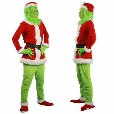 UK Santa Grinch Adult Cosplay Costume How the Stole Christmas Outfits Mask Gifts