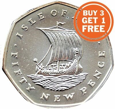 50p ISLE OF MAN VIKING FIFTY PENCE 1971 TO 1986 WITH DIE MARKS CHOICE OF DATE