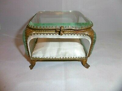 Gorgeous large antique French bevelled glass & ormolu jewellery box. c1870