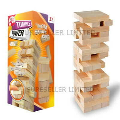 Mini Wooden Stacking TUMBLING TOWERS Kids Family Traditional Travel Board Game
