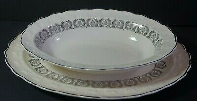Lot of 2 Taylor Smith Silver Trim Oval Serving Platter Veggie Bowl China TST926